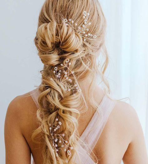 Romantic Bridal Hair, Boho Bridal Hair, Bridal Braids, Beach Wedding Hair, Bridal Hair Pins, Pearl Bridal, Wedding Hair Vine, Whimsical Wedding Hair, Bohemian Wedding Hair