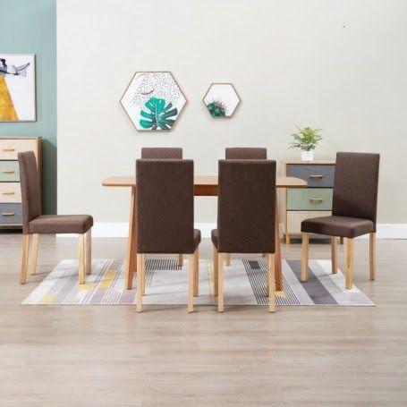 Muebles MQM Mesa de comedor y 4 sillas madera marrón