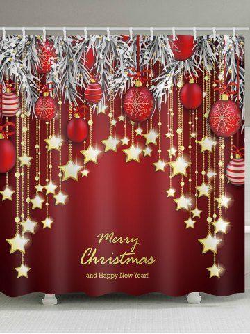 Christmas Balls Stars Greeting Printed Waterproof Bathroom Shower Curtain Modern Christmas Decor Elegant Christmas Decor Minimalist Christmas Decor