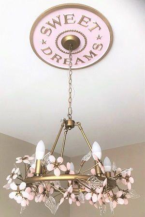 Handmade Girls Room Decor Princess Nursery Lighting Baby Shower Gift Home Decor Ceiling Medallion Chandeliers Ceiling Medallion