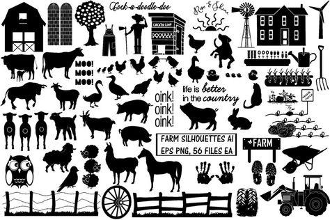 Farm & Animals Silhouettes AI EPS PNG (249899)   Illustrations   Design Bundles