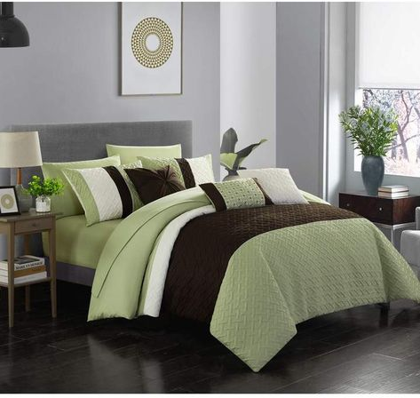 Twin Shai Color Block Design Bed In A Bag Comforter Set Green Comforter Sets Bed Luxurious Bedrooms