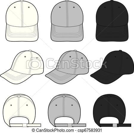 Baseball Cap Fashion Flat Sketch Template Vector Stock Illustration Royalty Free Illustrations Baseball Caps Fashion Fashion Flats Fashion Design Template