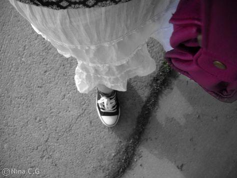 My gypsy like skirt and pink purse/bag..
