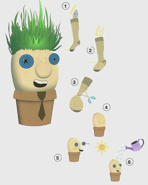 Laat de kinderen zelf een graspop maken met een oude panty, zand, graszaad, een potje, knopen en stift. Elke graspop is uniek.