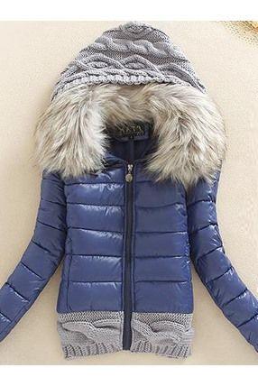 Chaqueta Plumas Capucha Con Cuello De Pelo Artificial Abrigos De Mujer Abrigos Invierno Mujer Chaquetas