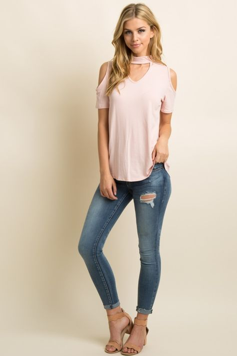 cc18ae94f55a5 Pink Cutout Mock Neck Cold Shoulder Top in 2019
