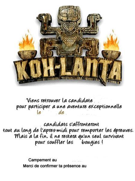 Bekannt Carte d'invitation à télécharger | anniversaire Ko Lanta/Survivor  CA62
