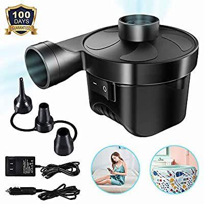 Amazon Com Electric Air Pump Air Mattress Pump Portable Quick Fill With 3 Nozzles 110v Ac 12v Dc Inflator Deflator Pu In 2020 Air Mattress Portable Air Pump Air Pump