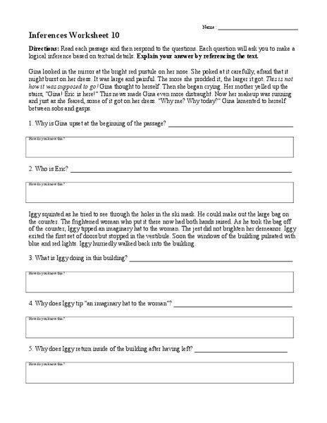 Making Inferences Worksheets 4th Grade Inferences Worksheet 10 Worksheet For 4th 8th Grade Inferencing Making Inferences Inference 8th grade inference worksheets