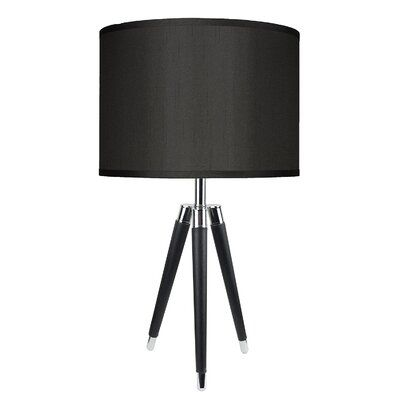 Breakwater Bay Linco Tripod Black Faux Leather Chrome Table Lamp With 14 Inch Shade Tripod Table Lamp Lamp Table Lamp Base