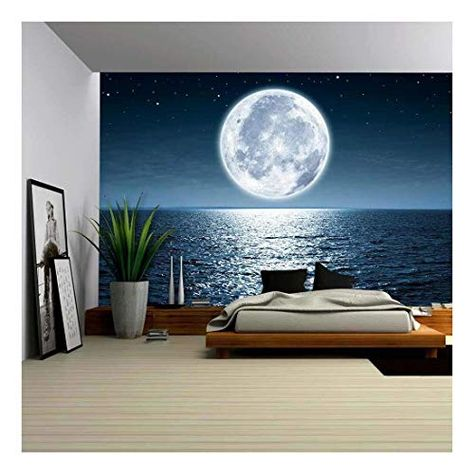wall26 - Full Moon Rising Over The Ocean Empty at Night with Copy Space - Removable Wall Mural | Self-Adhesive Large Wallpaper - 66x96 inches