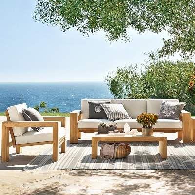 Williams Sonoma Williams Sonoma Larnaca Outdoor Teak Sofa Backyard Furniture Teak Outdoor Outdoor Living