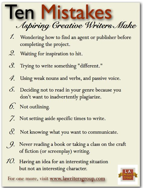 Ten mistakes aspiring creative writers make   Los Angeles Writers Group