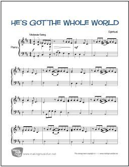 Learn To Play He S Got The Whole World In His Hands With A Cool Jazz Feel Download And Print This Easy Piano A Easy Piano Songs Piano Sheet Music Jazz Piano