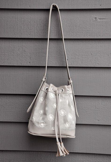 Amazing handmade bag--ikat bag: Bag in Grey Vinyl