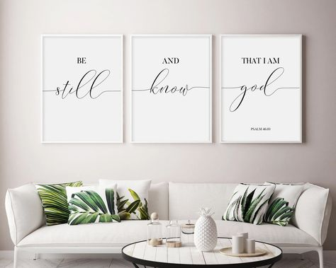 Be Still and Know That I am God Sign | Set Of 3 Prints | Scripture Sign | Printable Be Still and Know | Scripture Decor | Bible Verse Sign