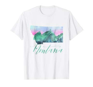 Watercolor Painting Montana T Shirt State Pride Lettering Forme