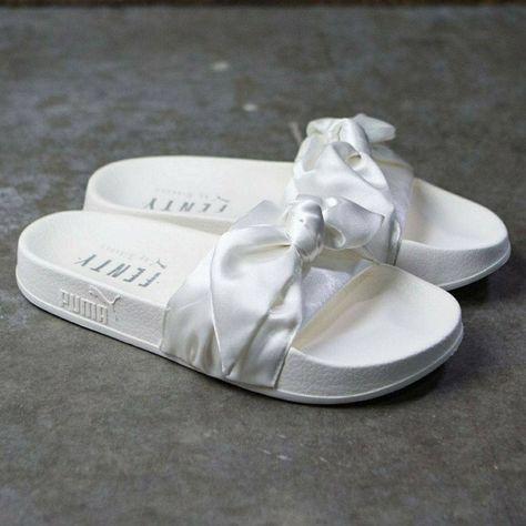 Puma Fenty White Slides   Puma rihanna, Rihanna shoes, White ...