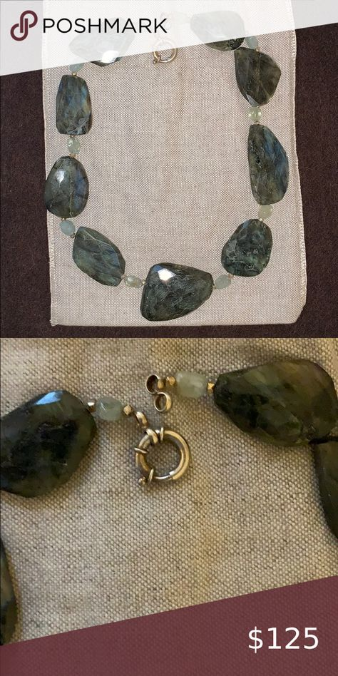 """Labradorite Statement Necklace Beautifuly appointed Labradorite with aquamarine and bronze stations. 20"""" long. custom Jewelry Necklaces"""
