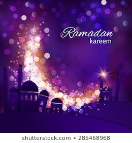 Ramadan Greetings Background View Of Mosque In Shiny Purple Night Background Vector Illustration Ramadan Greetings Ramadan Ramadan Images