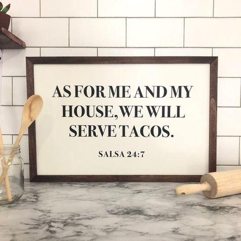 We Serve Tacos Framed Print - Farmhouse Decor - Rustic Home Decor - Housewarming Gift - Funny Home D