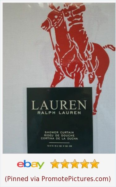 Ralph Lauren Shower Curtain Big Red Polo Pony Cotton 72 X 72