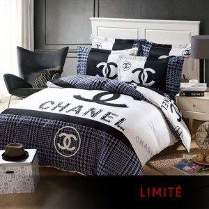 Parure De Lit Drap Housse Oreillers Chic A Prix Casses Chanel Bedding Bedroom Bedding Sets Chanel Bedroom