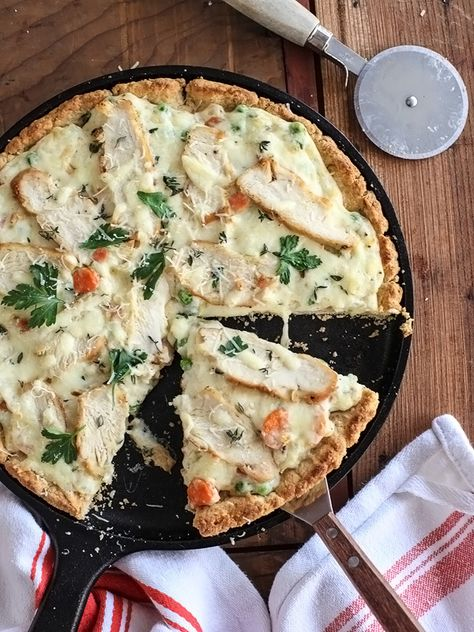 Chicken Pot Pie Pizza is the ultimate comfort food with a twist thanks to a flaky biscuit crust
