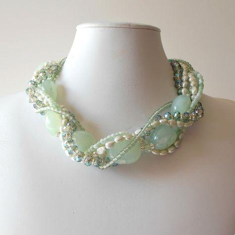 Chunky Necklace Seafoam Green Gemstone Pearl Crystal Silver Beaded Multistrand Bead Jewelry Necklace Beach Wedding. $85.00, via Etsy.