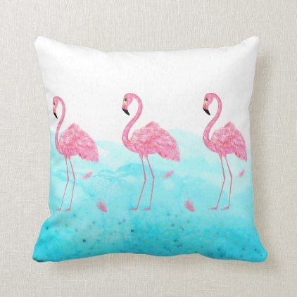 Throw Pillow Tropical Watercolor Pink
