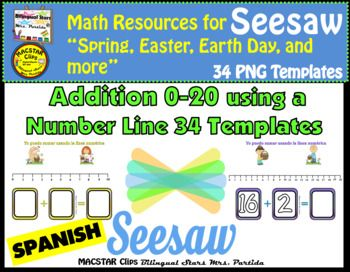 Addition 0 20 Using A Number Line 34 Png Templates Ready To Upload Into Seesaw Spanish Versiondear Teachers I Am Exc Number Line Seesaw School Technology
