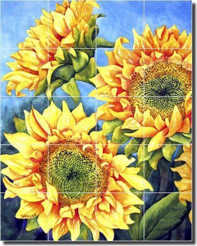 Ceramic Tile Mural by Angela Anderson Sunflower Basket