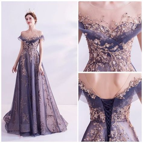 Pretty Outfits, Pretty Dresses, Glitter Prom Dresses, Purple Gowns, Fantasy Gowns, Queen Dress, Gala Dresses, Beautiful Gowns, Elegant Dresses