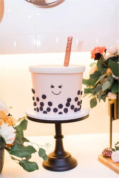 My Bubble Tea Themed Birthday Party! 25th Birthday Cakes, 25th Birthday Parties, Tea Party Birthday, Birthday Party Themes, Sister Birthday, 15th Birthday, Baby Birthday, Homemade Wedding Gifts, Homemade Anniversary Gifts