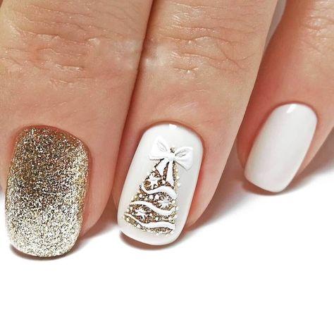 Colorful nails, Cute colorful nails, Gold nail art, Interesting nails, Multi-color nails, Nails with fir-tree, White nail art, Winter nail art