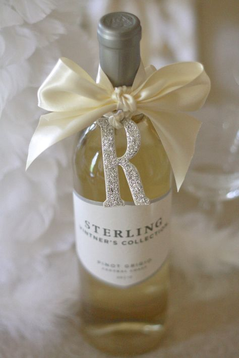 Glitter letter wine tags make the perfect simple yet sophisticated hostess gift when attending any gathering, grand or intimate. Wrapped Wine Bottles, Wine Bottle Tags, Wine Tags, Wine Bottle Wrapping, Christmas Gift Wrapping, Diy Christmas Gifts, Holiday Gifts, Xmas, Creative Gift Wrapping