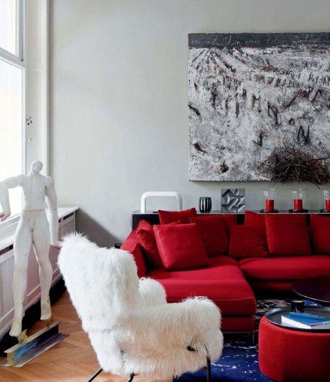 60 Zimmer Mit Roten Sofas   Fotos U0026 Inspirationen #wohnzimmer #braun #grau  #wohnlandschaft #ecksofa
