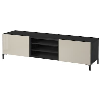 Besta Burs Banc Tv Brillant Blanc 180x41x49 Cm Meuble Unite De Television Et Ikea