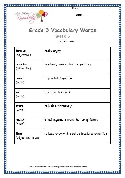 Grade 3 Vocabulary Worksheets Week 6 Definitions Vocabulary Words Vocabulary Vocabulary Worksheets Vocabulary worksheets for grade