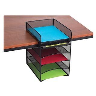 Safco Onyx Mesh Horizontal Hanging Desk Storage Black With Images Safco Desk Storage Desktop Organization