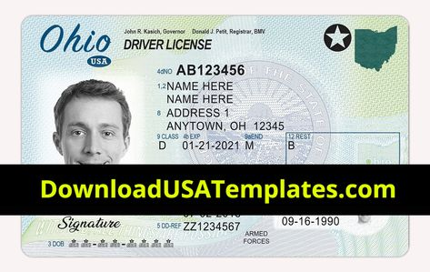 Ohio Driver License Psd Oh Driving License Editable Template Pertaining To Georgia Id Card Template Cumed Or Id Card Template Drivers License Card Template