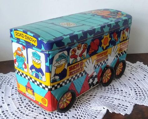 Vintage 1990's Ben and Jerry's Ice Cream Bus Tin, New Vaudeville Light Circus Road Show, Moving Whee