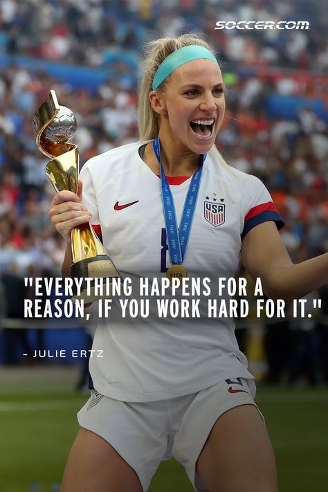 Inspirational & Motivational Soccer Quotes from the Best in the Game - Julie Ertz - Beauty Black Pins Motivational Soccer Quotes, Nike Quotes, Sport Quotes, Messi Gif, Lionel Messi, Football Girls, Soccer Girls, Girls Soccer Quotes, Quotes Girls