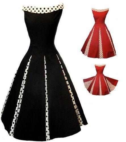Amazon.com  Aprils Classy New Black Rockabilly 1950 s Vintage Swing Evening  Dress  Clothing 54358dd26d0