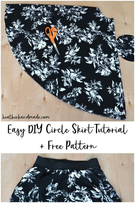 Circle skirts are also one of the easiest skirts to make. Use this easy circle skirt tutorial and free sewing pattern to make your own custom circle skirt! Diy Circle Skirt, Circle Skirt Pattern, Circle Skirt Tutorial, Skirt Pattern Free, Skirt Patterns Sewing, Circle Skirts, Sewing Patterns Free, Free Sewing, Skirt Sewing