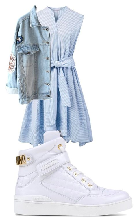 """""""high tops 'n denim"""" by noodlies15 ❤ liked on Polyvore featuring Chicwish and Moschino"""