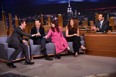 "Eric McCormack, Sean Hayes, Megan Mullally and Debra Messing of The Cast Of ""Will & Grace"" Visits ""The Tonight Show Starring Jimmy Fallon"" at Rockefeller Center on September 22, 2017 in New York City."
