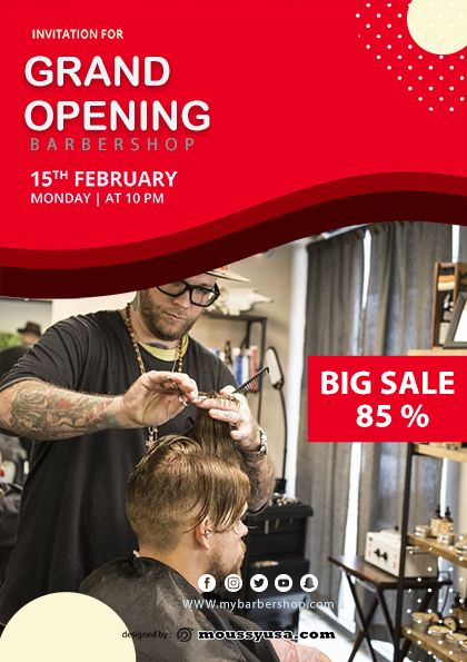 5 Barbershop Grand Opening Psd Flyer Template Grand Opening Barber Shop Barbershop Design