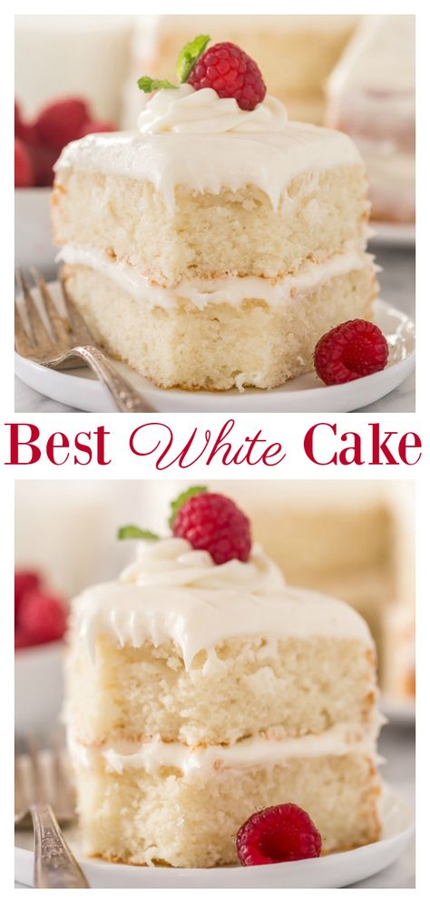 This is the BEST white cake recipe you'll ever bake! This is the BEST white cake recipe you'll ever bake! Each slice is moist, fluffy, and so delicious. This tender snow-white cake is made completely from scratch and with simple ingredients! Best Cake Recipes, Dessert Recipes, Cupcake Recipes, White Cake Recipes, Dessert Ideas, Best Birthday Cake Recipe, Picnic Recipes, Cake Ideas, Favorite Recipes